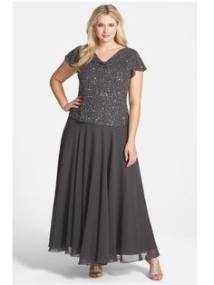 J KARA Sz 14W / 1X GRAY Mother Of The Bride Mock Two-Piece Gown Retail $238.00 #Dress eBAY $99