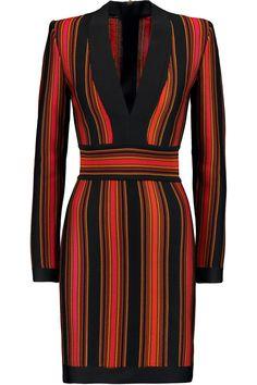 BALMAIN Crochet-Knit Mini Dress. #balmain #cloth #dress