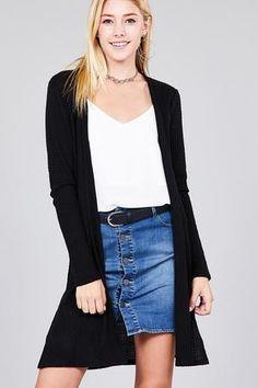 8b4fb289ac Ladies fashion long sleeve open front side slit tunic length brushed waffle  cardigan