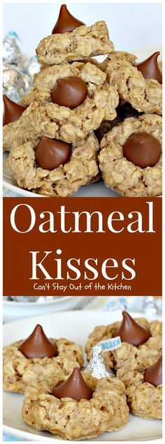 Oatmeal Kisses are terrific oatmeal cookies! They have a sprinkle of cinnamon in them to add wonderful flavor then a Hershey's Kiss is pres. Cookie Desserts, Just Desserts, Cookie Recipes, Delicious Desserts, Dessert Recipes, Yummy Food, Dinner Recipes, Jelly Recipes, Pumpkin Recipes