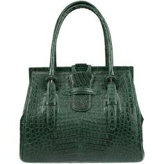Pre-Owned Phil LuanGrath Emerald Green Crocodile Doctor Tote ($1,800) ❤ liked on Polyvore featuring bags, handbags, tote bags, green, emerald green handbag, preowned handbags, handbags totes, crocodile purse and pocket tote