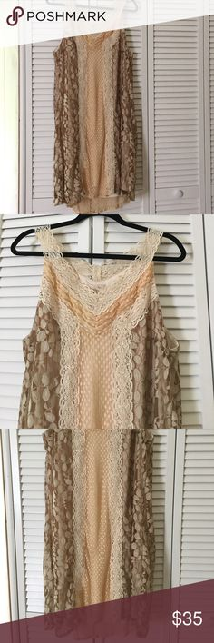 """Anthropologie Ryu boho style dress💞 BoHo style dress💞 Colors are Cream tan nude brown💞lining is 100% polyester 💞outershell mixture of cotton and nylon💞 armpit to armpit measures approx 22"""" 💞 shoulder to bottom measures approx 39"""" and a little longer in back 💞 Anthropologie Dresses Midi"""