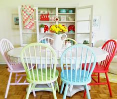Furniture: Painted Dining Chairs Best Of Love This Find Table With Leaf At Thrift Store And Mismatched, painted windsor dining chairs, diy painted dining room chairs, pastel painted dining chairs, Inspirational Painted Dining Chairs Painted Dining Room Table, Colored Dining Chairs, Woven Dining Chairs, Mismatched Dining Chairs, Dining Room Colors, Modern Dining Room Tables, Painted Chairs, Dining Room Sets, Dining Room Design