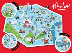 I recently worked with Hamleys toyshop in London to create a tourist map of London for Kids. The map featured child friendly highlights as well at the epic Hamleys toy store centre stage.