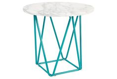 Ginny Marble Accent Table, Turquoise on OneKingsLane.com