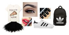"""Valentines day at school"" by heavenmelodyoffical on Polyvore featuring Fiebiger, adidas Originals, adidas, women's clothing, women, female, woman, misses and juniors"