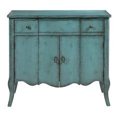 The curvaceous shape and unique distressed turquoise color of this chest make it a piece that is sure to draw attention. The perfect size for an entryway or to use as an accent chest, this piece is certain to add an extra splash of interest to any setting.