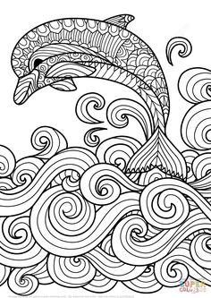 Delfín Zentangle Saltando las Olas del Mar | Super Coloring