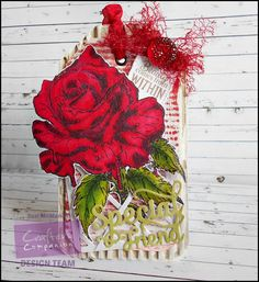 Large Gift Tag using Sheena Douglass A Very Rose stamps from www.crafterscompanion.co.uk Spectrum Noir pens #crafterscompanion