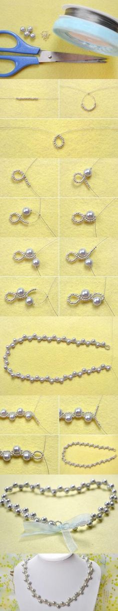 Simple OL Jewelry DIY on How to Make a Silver Gray Pearl Necklace with Ribbon Tie from LC.Pandahall.com by cmyk
