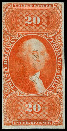 United States, Scott R99a. $20 Orange, Very light MC, amazing vibrant color on bright white paper, light H. CR, exceptionally fresh and Very Fine appearance, a great looking stamp Catalog value: 2750.00  Dealer Aldrich Auction  Auction Starting Price: 1200.00 US$