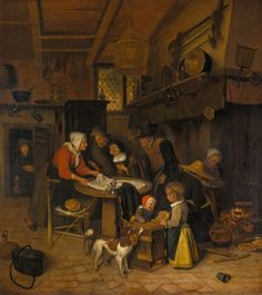 The Athenaeum - A Scene in a Peasant Kitchen with a Servant Laying the Cloth (Jan Steen - )
