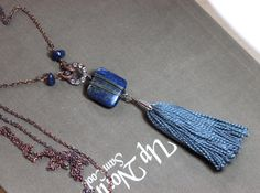 Hey, I found this really awesome Etsy listing at https://www.etsy.com/listing/246679728/blue-tassel-necklace-long-denim-blue