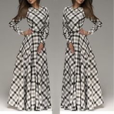 Buy Plaid Long Evening Dress online with cheap prices and discover fashion Women Dress/Skirt at Popreal.com.