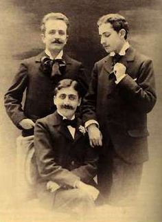 The photograph that scandalized Proust's mother: Marcel Proust (seated), Robert de Flers (left) and Lucien Daudet (right), ca. 1894.
