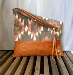Handmade Genuine Leather Clutch with Navajo by indigosoulcompany
