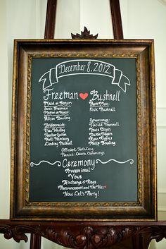 #wedding wedding program on chalkboard frame, #inspiration Modern Christmas Wedding   The Milestone Denton   Dallas Wedding Photographer-http://www.monica-salazar.com