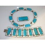 VINTAGE KAY DENNING ENAMELED NECKLACE BRACELET PIN SET