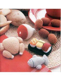 Meat amigurumi patterns - Food Amigurumi - Ice Box Crochet - Crochet Pretend Play Food