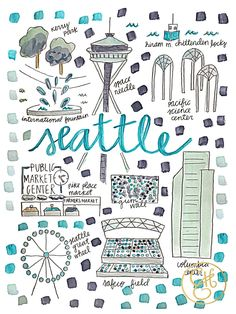 I know this is not Oregon-but Washington is our fellow Northwestian! Seattle Map Print www.evelynhenson.com