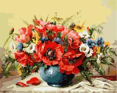 2015 new painting by numbers Triptych flowers diy painting home decoration resin red flower hot selling