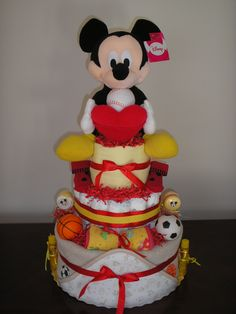 Mickey Mouse Sports 3 Tier Diaper Cake