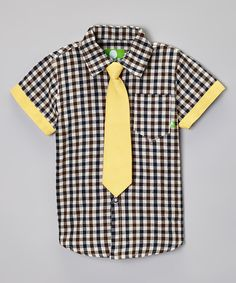 Look at this Future Trillionaire Brown Plaid Button-Up & Yellow Tie - Boys on #zulily today!