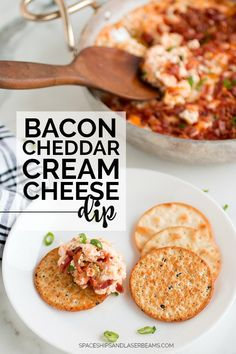 The Best Bacon Cheddar Cream Cheese Dip Bacon Appetizers, Appetizer Recipes, Party Appetizers, Snack Recipes, Cream Cheese Dips, Cream Cheese Cracker Dip, Cheddar Cheese, Cheese Dip Recipes, Gluten Free Puff Pastry