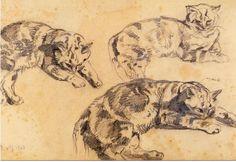 Trois Dessin de Chats - Eugène Delacroix