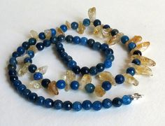 Necklace with Citrine Agate and Sterling Silver by Smokeylady54