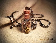 Steampunk Necklace Gears Bottle. Glass Bottle Necklace Gears