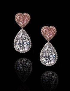 Extremely rare heart shaped pink diamond drop earrings