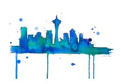 Watercolor Travel Illustration - Seattle Blues | by JessicaIllustration at etsy