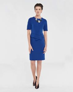 Jersey Sash Shift Dress and Art Deco Statement Necklace