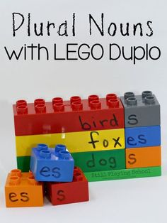 Plural noun activity for kids using LEGO Duplo for hands on learning!
