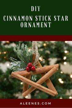 Makes this rustic DIY Cinnamon Stick Star Ornament with Aleene's Tacky Glue and Cinnamon Sticks! #AleenesDIY #Christmas #ChristmasOrnament #CinnamonStick #Cinnamon #Crafts #DIY