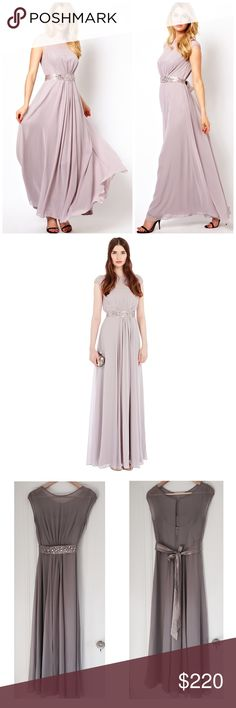 Coast Lori Lee Maxi Dress A truly special maxi gown perfect for any extra special occasion. Features a bodice lined with a soft slip for a demure and feminine allure. The waist is cinched with a lustrous waist tie embellished with faux gems for an opulent aesthetic. Back features a graceful keyhole detail and skirt is fully lined for party perfect movement. 57.5 inches from side neck point to hem.  Fabric: 100.0% Polyester. Lining: 100.0% Polyester. Worn once & immediately dry cleaned. No…