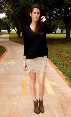 Crochet skirt, sweater and booties