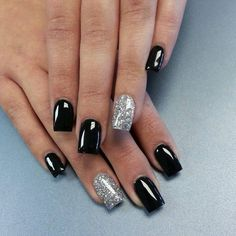 Nails, prom nails, homecoming nails, black nail designs, colorful n Homecoming Nails, Prom Nails, Wedding Nails, Vegas Nails, Fancy Nails, Pretty Nails, Black Silver Nails, Silver Glitter, Black Nails With Glitter