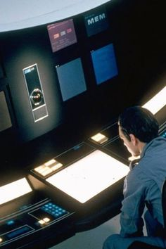 2001 via @Jake Parker, retro-futuristic, sci-fi movie, monitors, screens, computers, science fiction