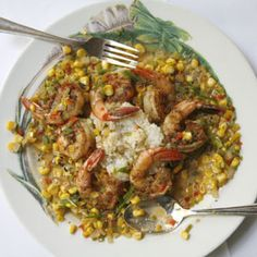 Maque Choux and Shrimp  This Cajun dish, similar to succotash, pairs well with rice and seafood or chicken. This version comes from Commander's Palace in New Orleans.