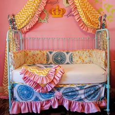 Beautiful boho crib bedding! Love the mix of prints.