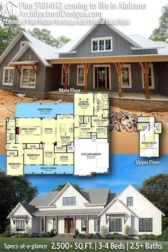 House Plan 51814HZ gives you 2500+ square feet of living space with 3-4 bedrooms and 2.5 baths. AD House Plan #51814HZ #adhouseplans #architecturaldesigns #houseplans #homeplans #floorplans #homeplan #floorplan #houseplan New House Plans, Dream House Plans, Modern House Plans, Beautiful Home Designs, One Story Homes, Modern Farmhouse Plans, Room Planning, Story House, House Layouts