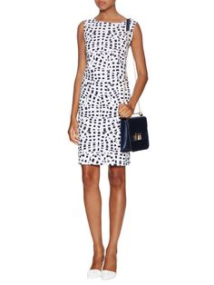 Printed Jewel Neck Dress