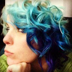 #purple #aqua #blue #curlyhair #Curlingiron