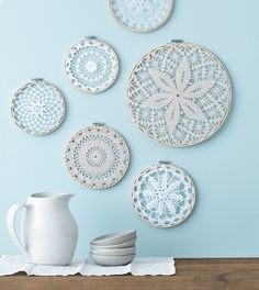 Style at Home managing editor and resident crafter Catherine Therrien shows you . Style at Home managing editor and resident crafter Catherine Therrien shows you how to update Grandma& doilies to create wintry wall art. Crochet Wall Art, Crochet Home, Doilies Crafts, Crochet Doilies, Crochet Mandala, Embroidery Hoop Art, Vintage Embroidery, Embroidery Ideas, Style At Home