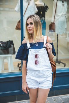 How to wear denim short overalls   Summer outfits   Casual Summer look • Uptown with Elly Brown