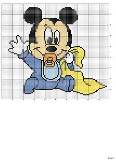 Mouse bobble stitch, mickey and friends, crochet blanket, crochet chart C2c Crochet Blanket, Crochet Chart, Crochet Baby, Cross Stitch Baby, Cross Stitch Charts, Cross Stitch Patterns, Arte Do Mickey Mouse, Baby Mickey Mouse, Crochet Disney