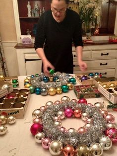 creating vintage ornament wreath: I don't think I'd have the heart to hot glue vintage ornaments to create a wreath - but, I think I have another pin on how to make a new ornament look vintage ... I might COMBINE two pins into ONE! Now that's freaking me out!