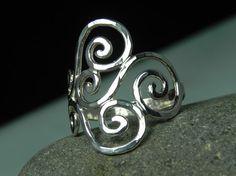 swirls sterling silver ring